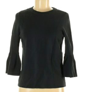 H &M Women Black Bell Sleeved Top Size L